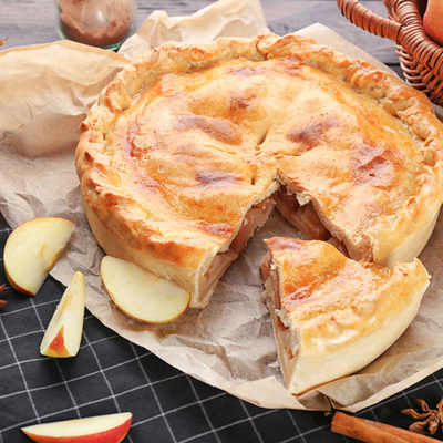 Apple pie is a dessert made of an apple filling and a pastry base.