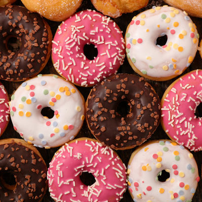 A donut or doughnut is a sweet confection made of fried dough commonly eaten for breakfast or dessert.