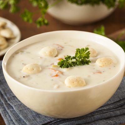 Clam chowder is a type of soup or broth that is made of clams, onions, potatoes, celery, and carrots.