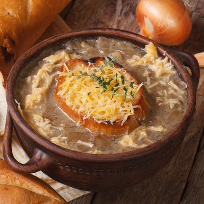 As the name suggests, French onion soup is a soup made of onions and served with croutons or cheese on top of a piece of bread, making it a one-pot dish.
