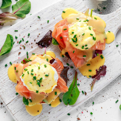 Eggs Benedict is a dish commonly eaten for breakfast or brunch in North America.