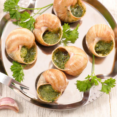 Escargot is French for snail and is also a culinary term that refers to land snails which are cooked and eaten.