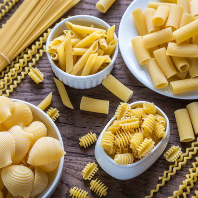 Pasta is a type of food made from milled durum wheat that can come in many shapes and sizes.