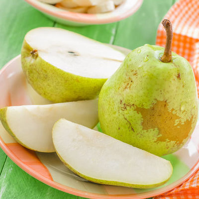 A pear is a fruit with a soft skin and soft inner flesh that is consumed all over the world.