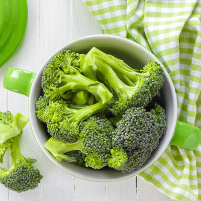 Broccoli (Brassica oleracea) is a cruciferous vegetable with flowering head, stalk, and small leaves.