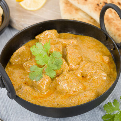 Korma or Qorma is a dish originating in the Indian subcontinent, which consists of meat and/or vegetables cooked in a gravy made of cream or yogurt.