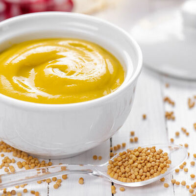Mustard is a condiment made from the seeds of the mustard plant.