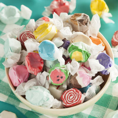 Taffy is a type of soft candy made from corn starch, sugar, and other flavorings.