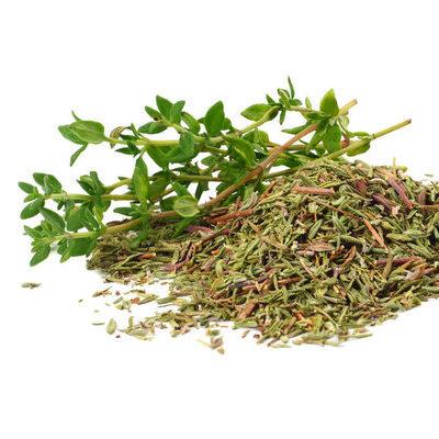 Thyme (Thymus vulgaris L) is a Mediterranean herb used to season dishes.