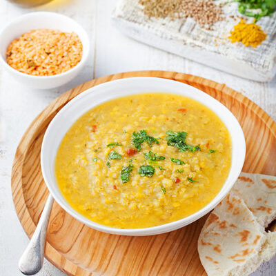 Dahl refers to the South Asian dishes made from split pulses such as lentils, beans, or peas.
