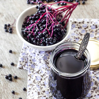 Elderberry syrup is made from dried elderberries and may contain honey, lemon, and different herbs.