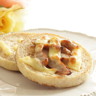 English muffins are a bread product made from yeast-leavened dough.