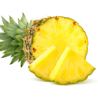 The pineapple (Ananas comosus) is a tropical fruit that is tough and thorny on the outside and has a hard, yellow flesh inside.