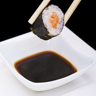 Soy sauce is a liquid condiment and seasoning of Chinese origin.