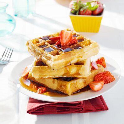 Waffles are a sweet dish made from a batter of flour, water, oil, and eggs.