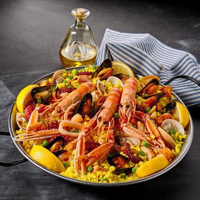 Paella is a rice dish of Spanish origin.