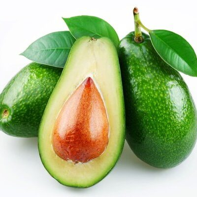 Avocado (Persea americana) is a tree fruit known for its soft green flesh, hard brown stone, and textured black peel.
