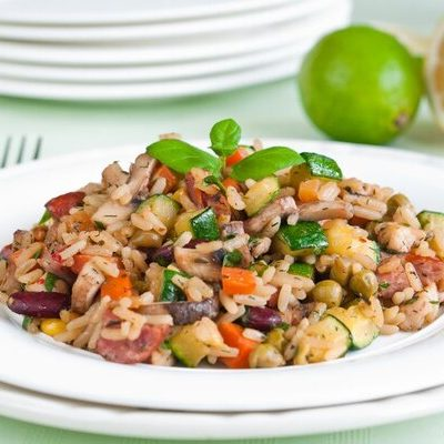 Risotto is an Italian dish made of rice cooked in stock and white wine.