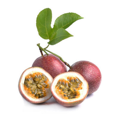 Passion fruit is a tropical fruit that has a dark purple and inedible skin and a firm, juicy interior filled with yellow flesh and black seeds.