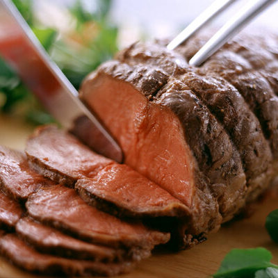 Roast beef is a meat dish consisting of cuts of beef that are roasted.