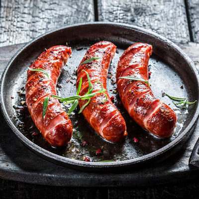 Sausage is a meat product made from ground meat, spices, herbs, salt, and other seasonings.
